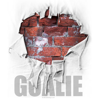 Torn Shirt Brick Wall Hockey Goalie